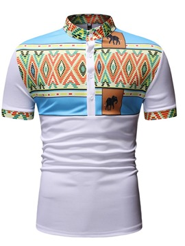 Ericdress Color Block Print Stand Collar Straight Mens Short Sleeve T-shirt