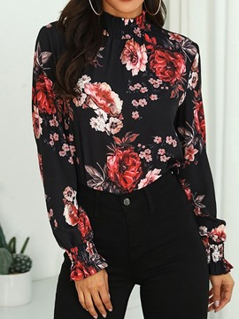 Ericdress Stand Collar Floral Lantern Sleeve Blouse