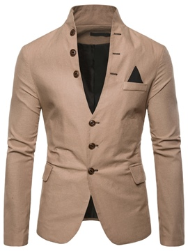 Ericdress Plain Stand Collar Single-Breasted Pocket Mens Casual Blazer