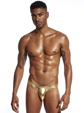 Ericdress Men Patent Leather Plain Briefs Low Waist Underwear