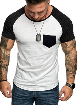 Ericdress Color Block Pocket Round Neck Slim Mens Short Sleeve T-shirt