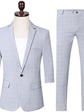 Ericdress Plaid Pocket One Button Mens Dress Suit