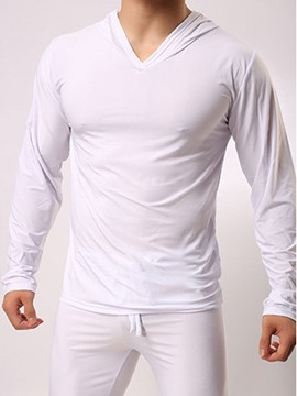 Ericdress Men Ice Silk Long Sleeve Plain Casual Hooded Pajamas Sets