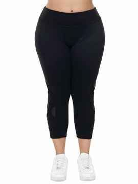 Ericdress Women Plus Size Solid Mesh Patchwork Yoga Pants