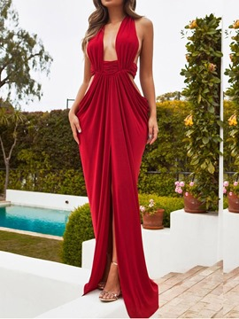 Ericdress Floor-Length Split Backless Sleeveless Sexy Plain Dress