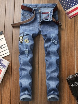 Ericdress Letter Embroidery Mid Waist Mens Jeans