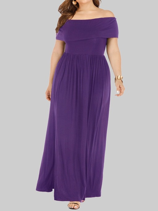 Ericdress Plus Size Pleated Off Shoulder Ankle-Length High Waist Dress