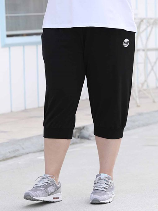 Ericdress Women Plus Size Pockets Letter Mid-Calf Yoga Pants