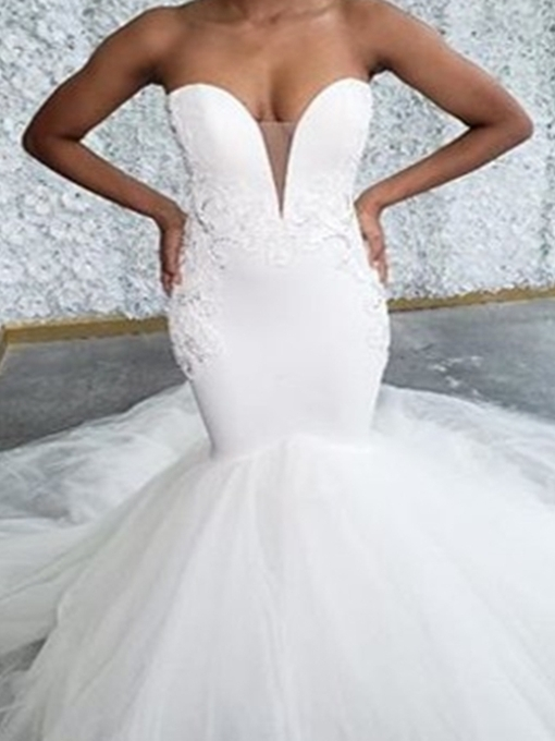 Ericdress V-Neck Sleeveless Floor-Length Appliques Church Wedding Dress 2020