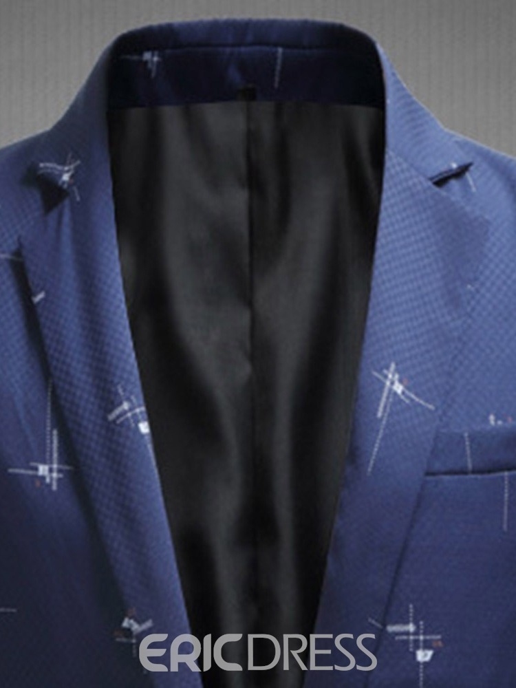 Ericdress Straight Color Block Notched Lapel Mens Blazers