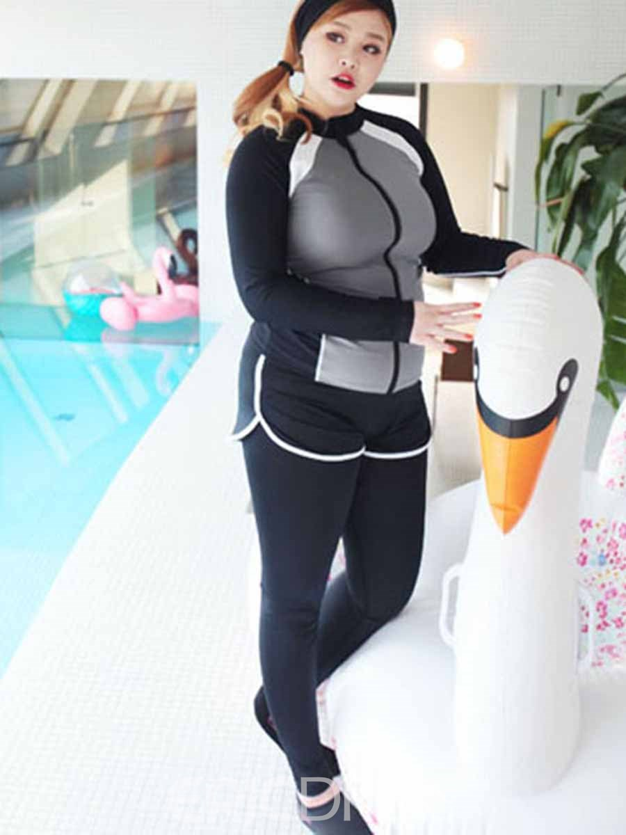 Ericdress Women Plus Size Quick Dry Color Block Running Gym Sports Sets