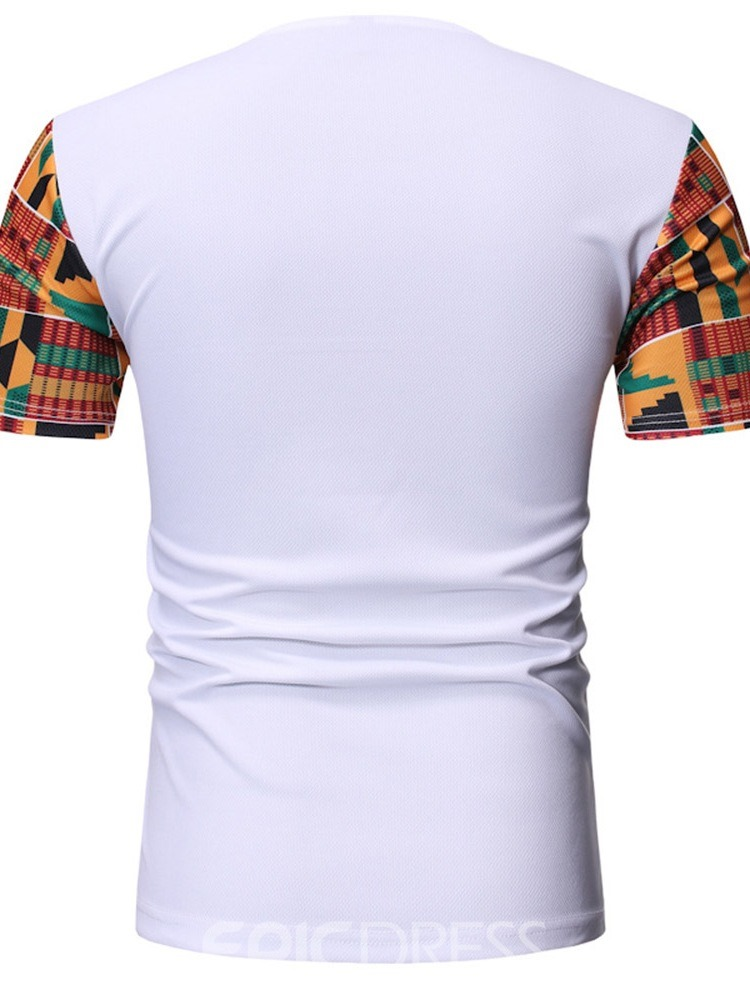Ericdress Color Block Print Casual Mens Slim Short Sleeve T-shirt