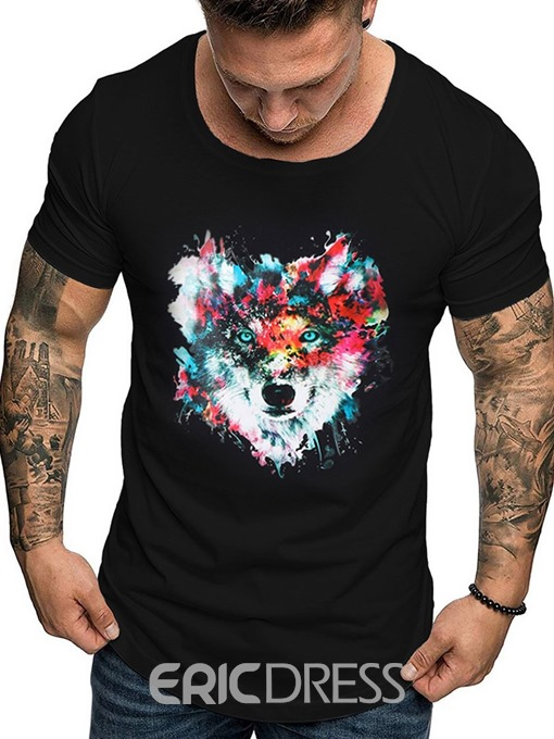 Ericdress Casual Print Color Block Short Sleeve Mens Loose T-shirt