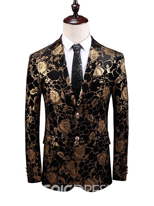 Ericdress Notched Lapel Single-Breasted Mens Straight Blazer
