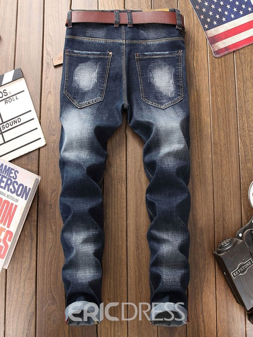 Ericdress Pocket Color Block Mid Waist Mens Button Jeans