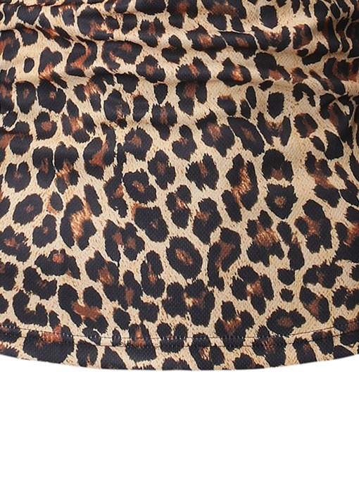 Ericdress Casual Leopard Button Mens Polo Shirt