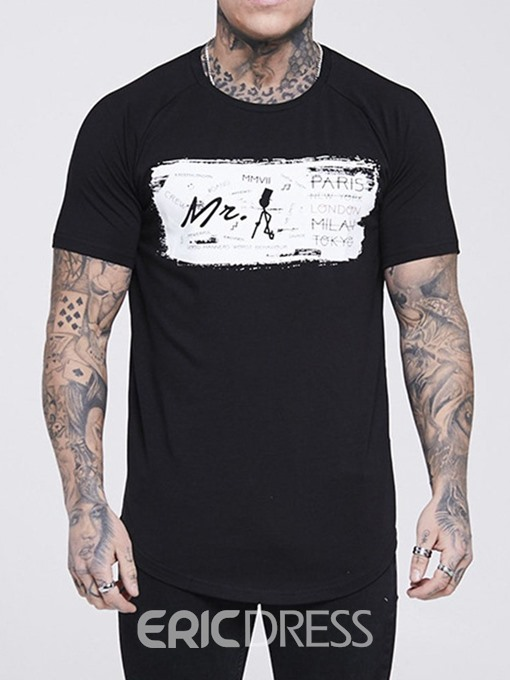 Ericdress Round Neck Letter Print Summer Mens Loose Shirt