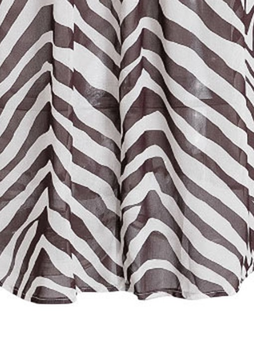 Ericdress V-Neck Zebra Stripe Lace-Up Lantern Sleeve Blouse