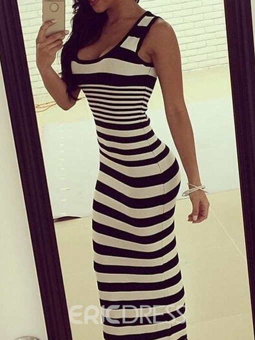 Ericdress Ankle-Length Print Sleeveless Pullover Stripe Dress