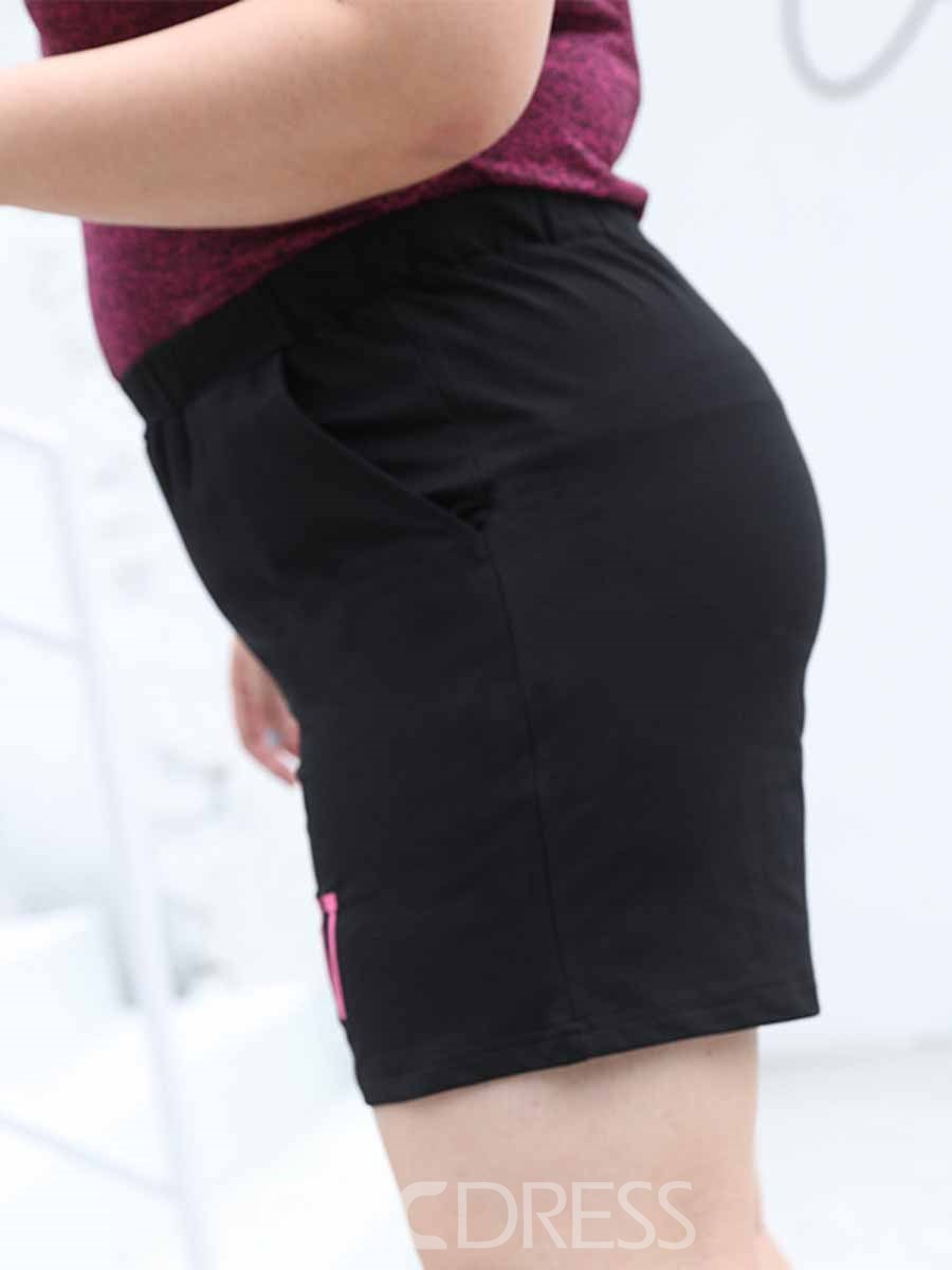 Ericdress Women Plus Size Pockets Letter Running Yoga Sports Shorts