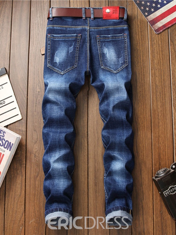Ericdress Embroidery Letter Mid Waist Mens Jeans