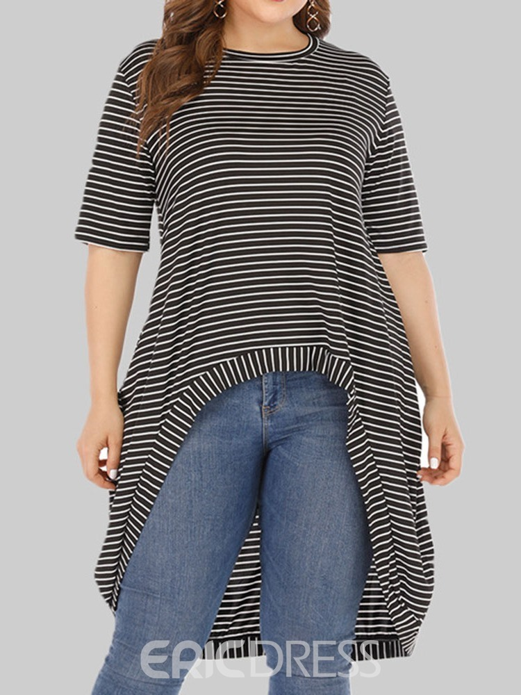 Ericdress Stripe Long Round Neck Summer T-Shirt