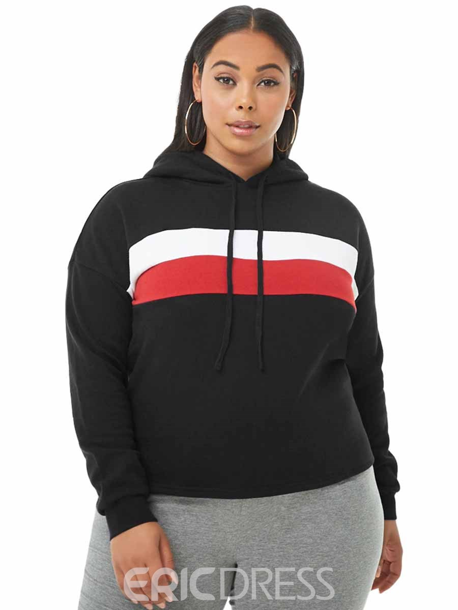 Ericdress Women Plus Size Stripe Hooded Running Pullover Sports Hoodie