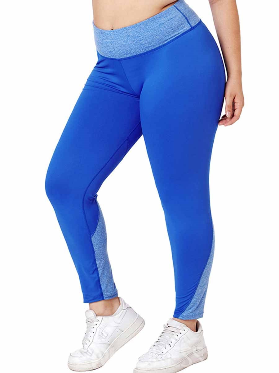 Ericdress Women Plus Size Blends Color Block Running Yoga Pants