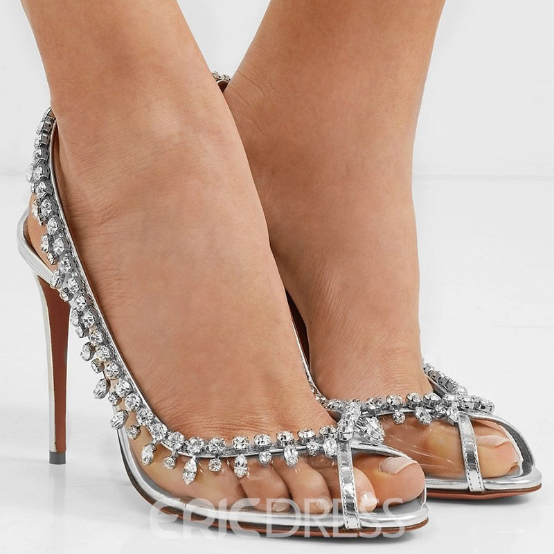 Ericdress Rhinestone Stiletto Heel Slip-On Slingback Strap Women's Prom Shoes