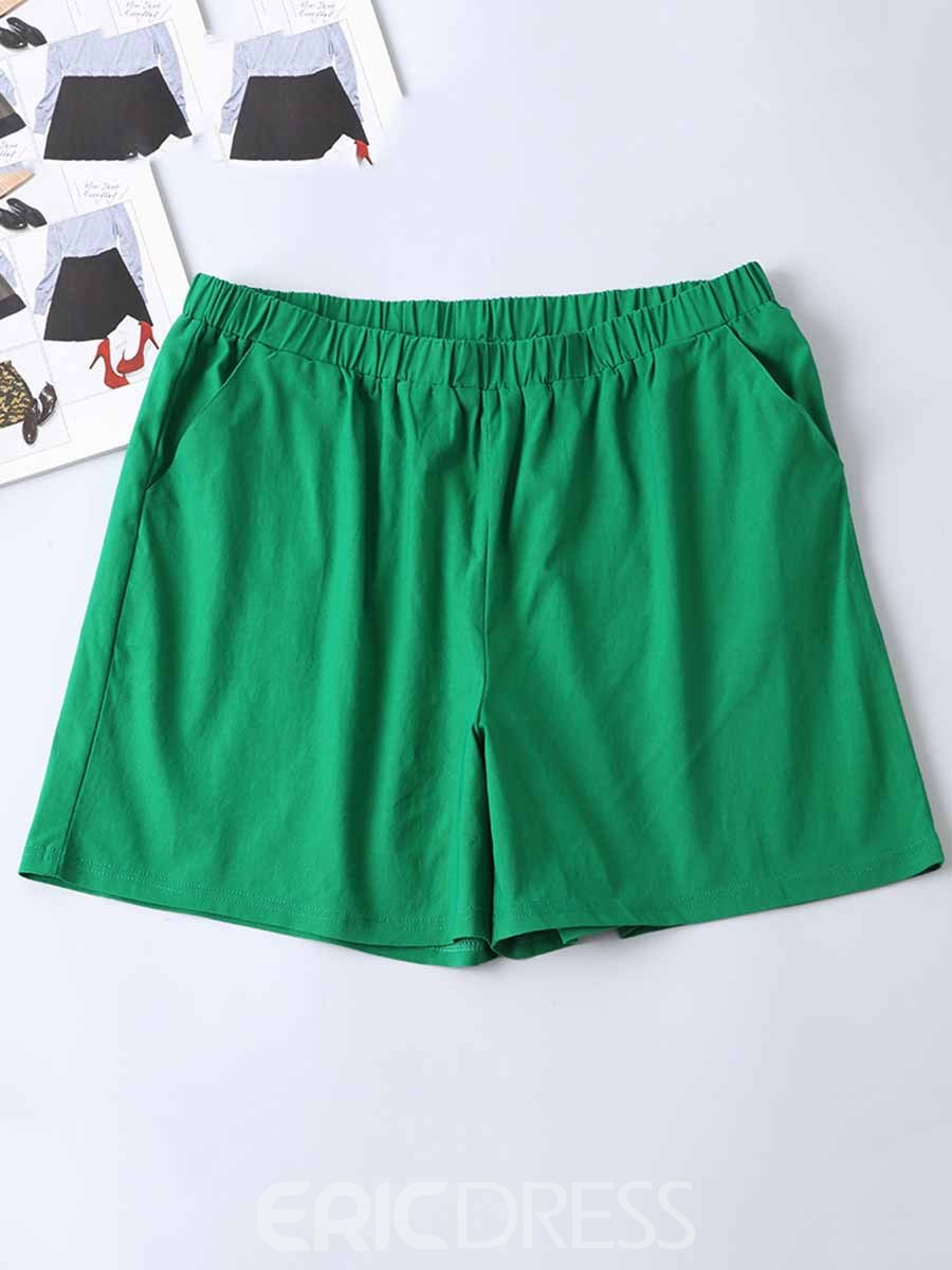 Ericdress Women Plus Size Pockets Solid Shorts Summer Sports Pants