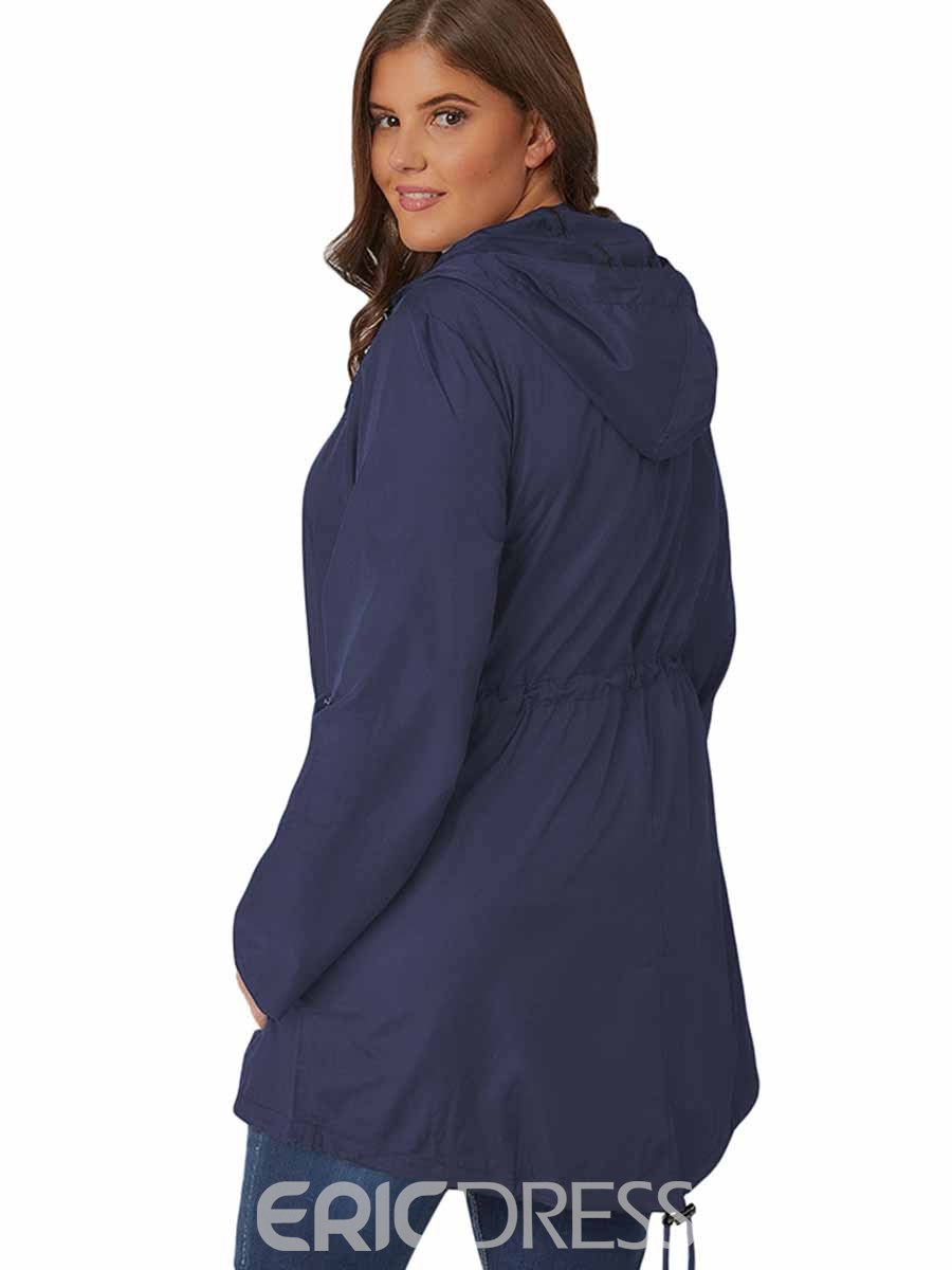 Ericdress Women Plus Size Quick Dry Solid Hooded Running Sports Coats