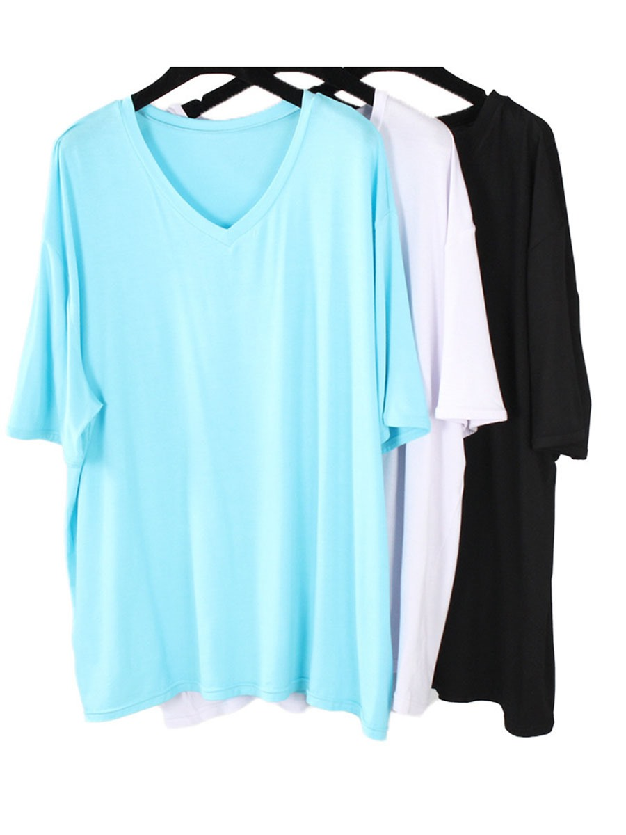 Ericdress Women Plus Size Solid Pullover Gym Sports Yoga Tops