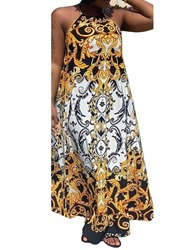 Ericdress Print Expansion African Fashion Lace-Up Floor-Length Dress фото