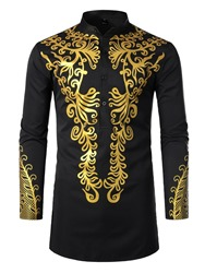 Ericdress African Fashion Stand Collar Dashiki Slim Mens Shirt фото