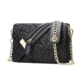 Ericdress PU Flicker Chain Bias Tape Zipper Crossbody Bag