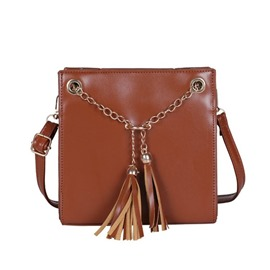 Ericdress PU Tassel Plain Square Crossbody Bag