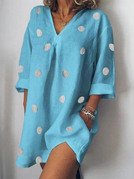 Ericdress Long Sleeve Above Knee V-Neck Polka Dots Pocket Dress