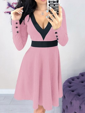 Ericdress Long Sleeve Patchwork V-Neck Pullover Color Block Dress