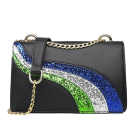 Ericdress PU Sequins Rainbow Crossbody Bag
