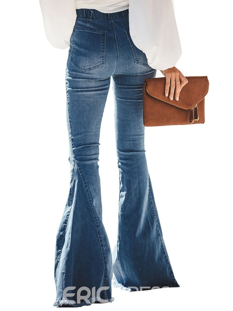 Ericdress Hole Plain Bellbottoms Slim Jeans
