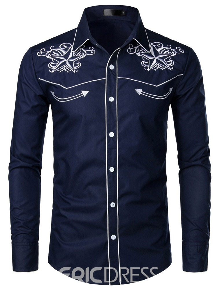 Ericdress Lapel Color Block Button Spring Mens Single-Breasted Shirt