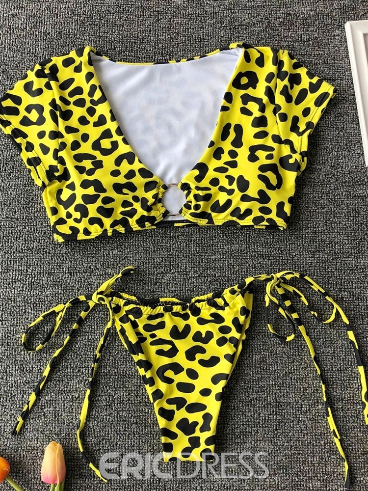 Ericdress Lace-Up Leopard Micro Sexy Swimsuit