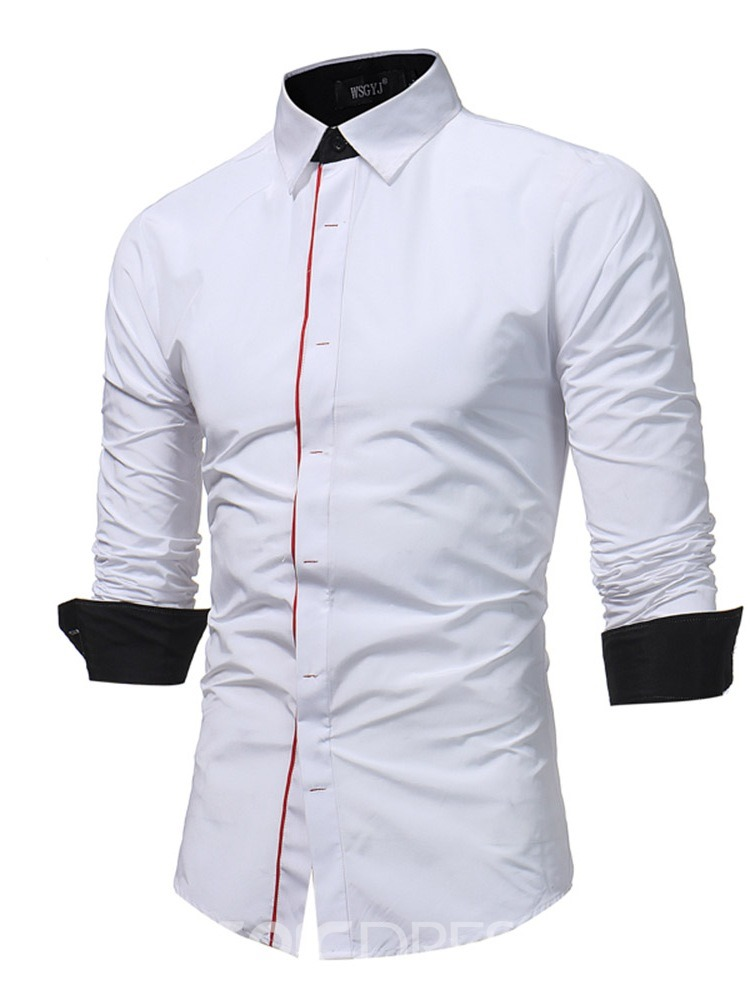 Ericdress Color Block Button Casual Slim Mens Shirt