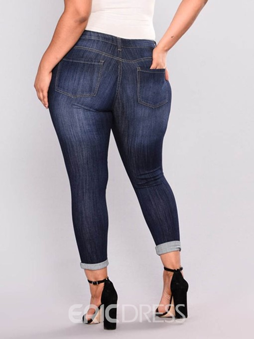 Ericdress Plus Size Plain Skinny Zipper Ripped Jeans