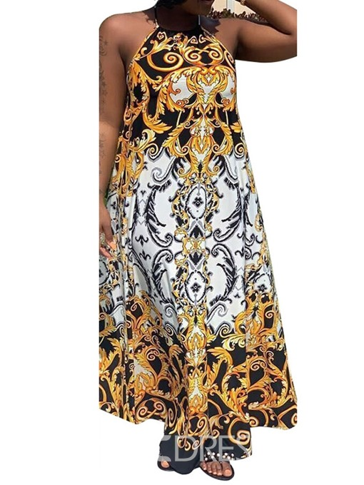 Ericdress Print Expansion African Fashion Lace-Up Floor-Length Dress