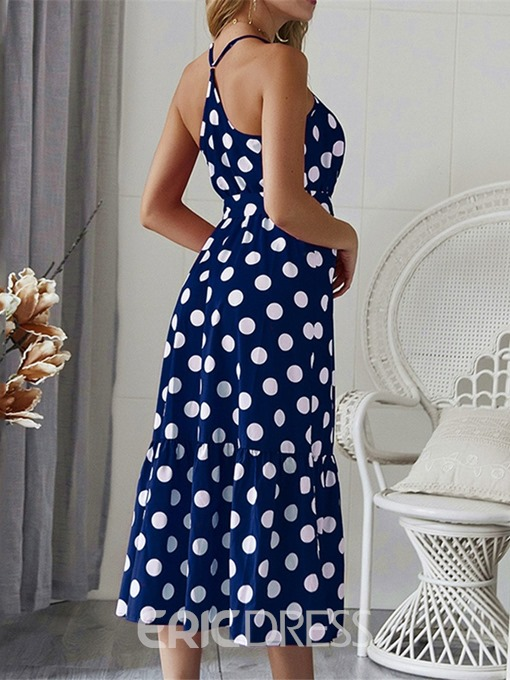 Ericdress Print Sleeveless V-Neck Spaghetti Strap Polka Dots Dress