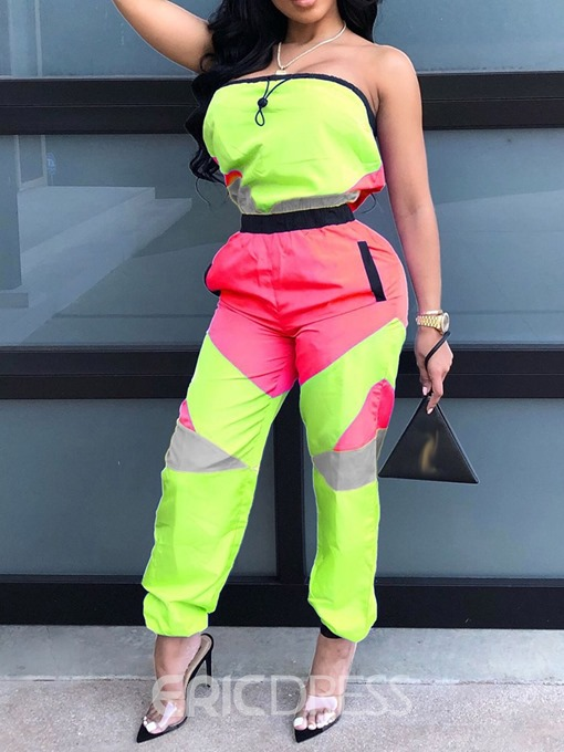 Ericdress Color Block Sexy Slim Straight Casual Jumpsuit