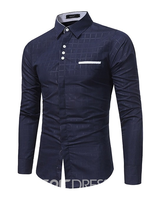 Ericdress Plaid Casual Lapel Slim Mens Single-Breasted Shirt