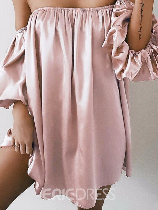 Ericdress Off Shoulder Half Sleeve Pleated Plain Strapless Dress