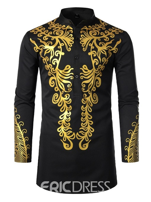 Ericdress African Fashion Stand Collar Dashiki Slim Mens Shirt